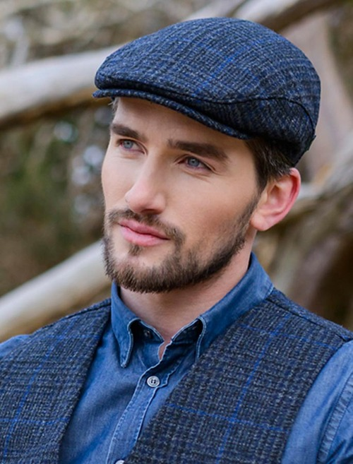 Trinity Tweed Flat Cap - Charcoal with Blue