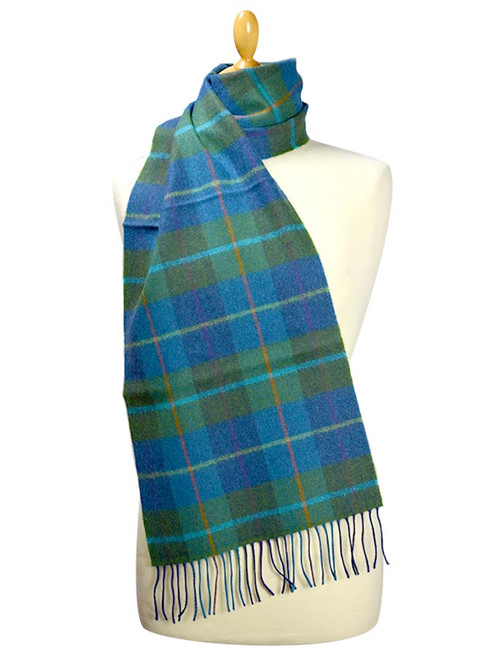 Fine Merino Plaid Scarf - Blue Green