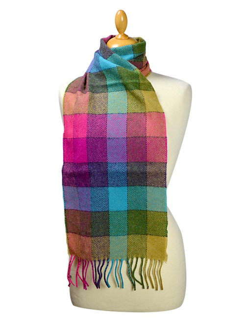 Lambswool Scarf - Shannon Blue Check