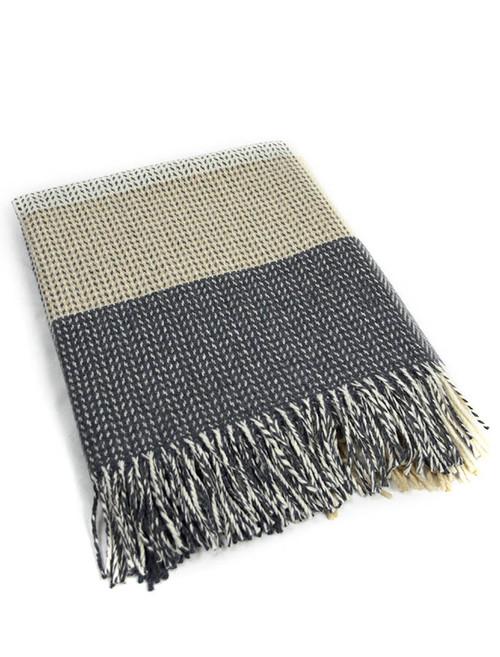 Wool and Cashmere Throw - Grey Bone Large Block