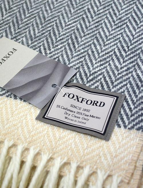 Wool and Cashmere Throw - Bone White Stripe