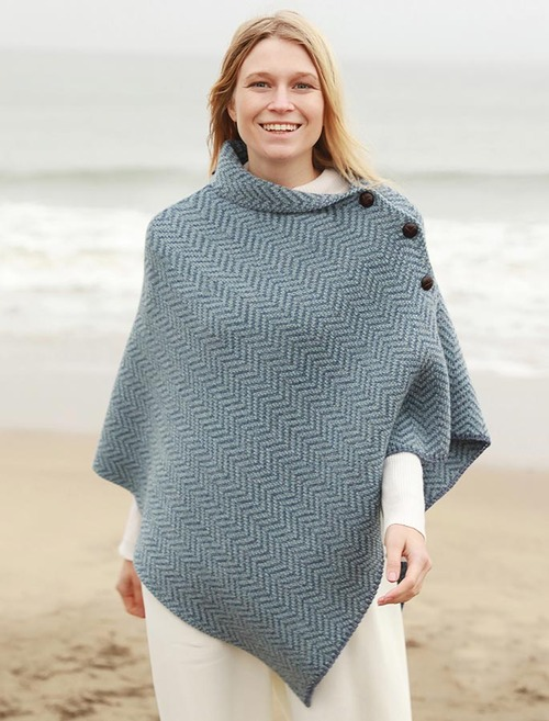 Herringbone Merino Poncho with Button Detail - Denim Mist