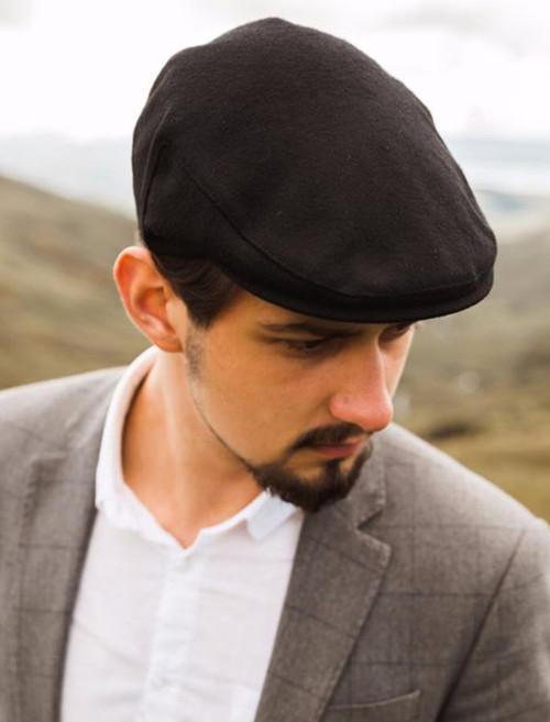 Noir Traditional Flat Cap
