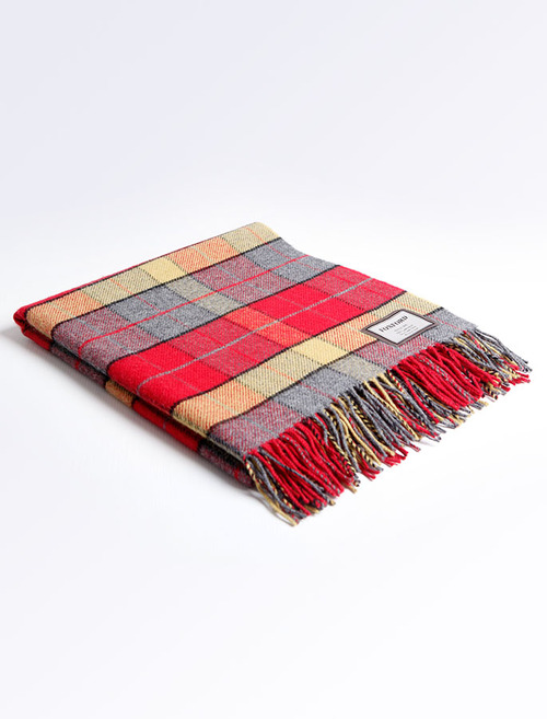 Lambswool Throw - Red Grey Check