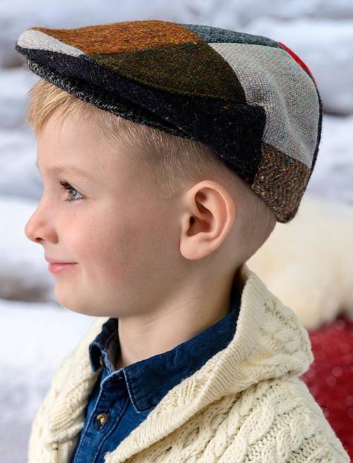 Children's Tweed Flat Cap - Patchwork