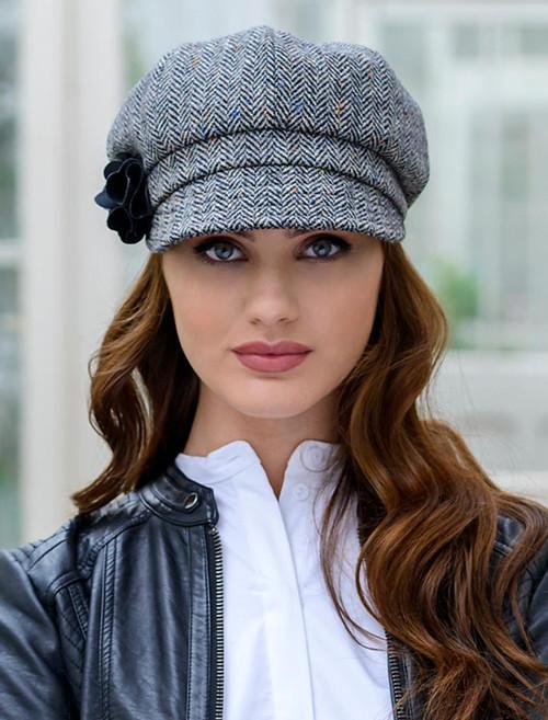 Ladies Tweed Newsboy Hat - Grey
