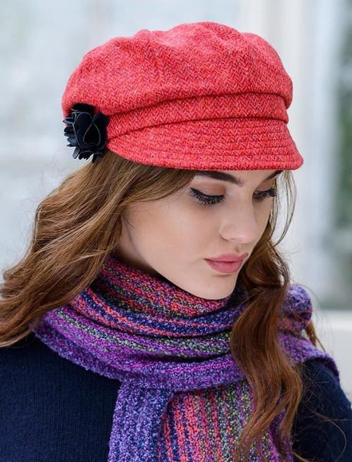 Ladies Tweed Newsboy Hat - Red