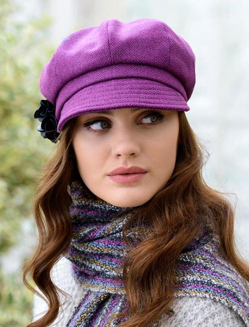 Ladies Tweed Newsboy Hat - Magenta