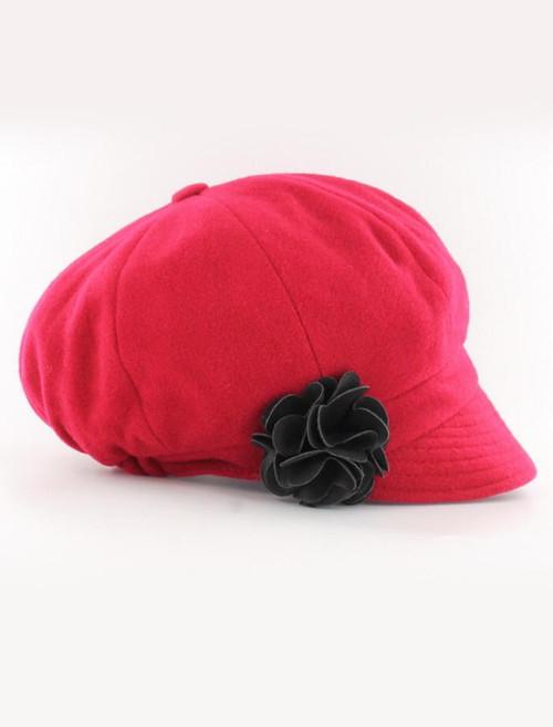 Ladies Tweed Newsboy Hat - Plain Red