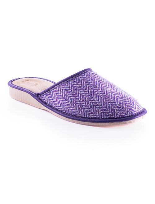 Womens Tweed Slippers - Purple Herringbone
