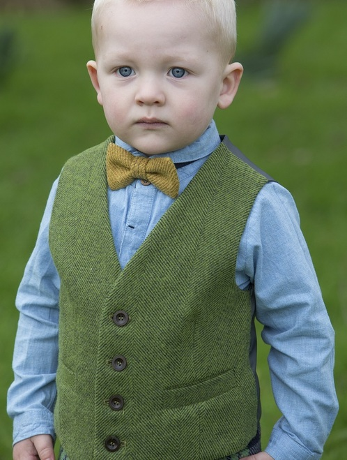 Boy's Irish Tweed Palm Green Herringbone Waistcoat