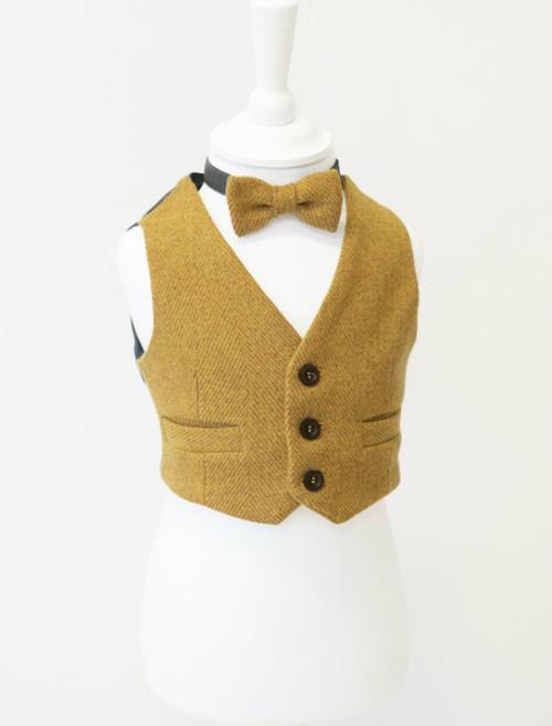Boys Mustard Irish Tweed Herringbone Waistcoat