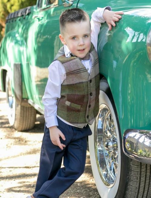 Boys Autumn Plaid Herringbone Irish Tweed Waistcoat