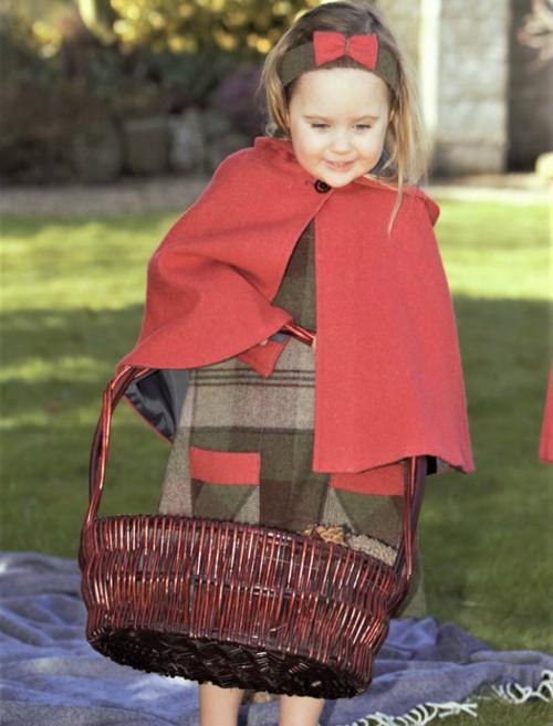 Girls Irish Tweed Raspberry Cape with Hood