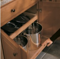 KraftMaid Base Pots and Pans Organizer Roll-Out base cabinet storage innovation
