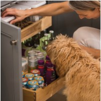 KraftMaid Roll-Out Organizer base cabinet storage innovation