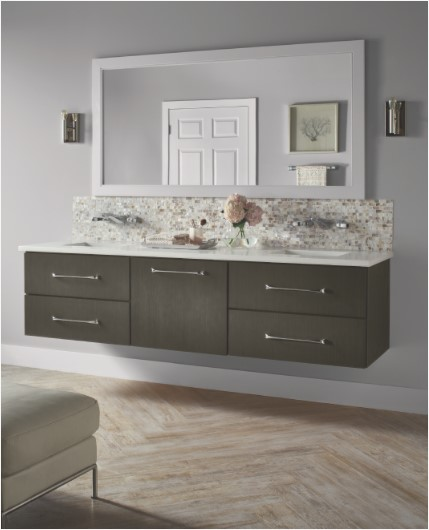 Contemporary bathroom featuring wall-hung KraftMaid vanity in Cannon Grey finish