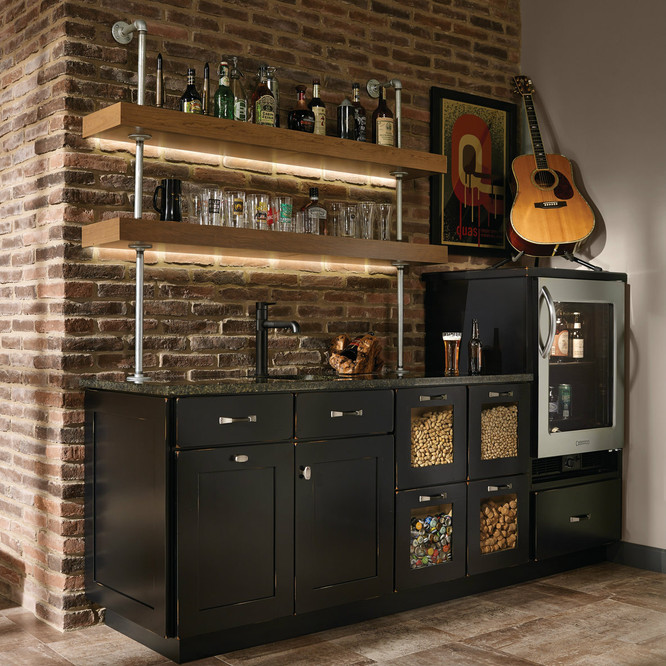 Custom Kitchen With A Bar Area   KraftMaid