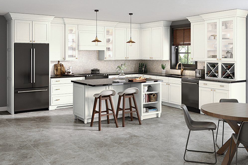 Dove White on Maple Kitchen with Glass Doors
