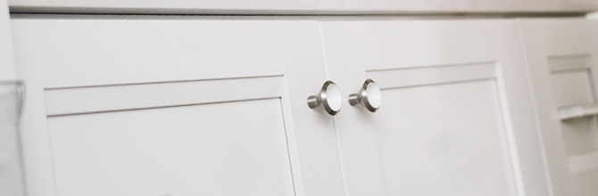 KraftMaid Door Overlays on White Shaker Kitchen Cabinets.
