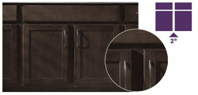 KraftMaid Partial Half-Inch Overlay Doors on Peppercorn Kitchen Cabinets.