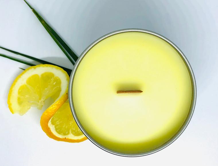 Wood Wick Candle Tin - Lemongrass