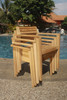 4 Modern teak stacking chairs.