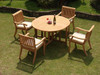 4 seat teak set with large stacking chairs