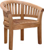 Heavy teak arm chair.