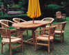 Teak patio set with curved chairs.