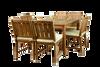 One teak KONA table with six teak KONA chairs.