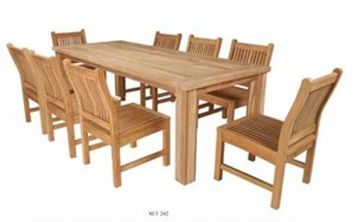 Reclaimed Teak Table with eight chairs.