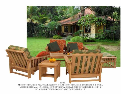 (6pc) MISSION TEAK DEEP SEAT SET - out of stock