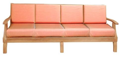 Extra long teak outdoor sofa.