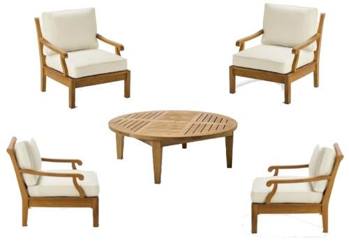 Nice 5pc teak club chair set