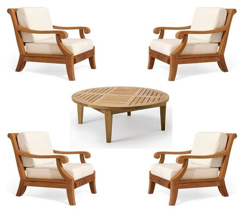 Teak club chair set for four people.