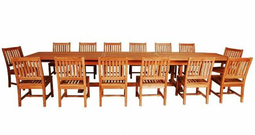 extra large teak dining set for 14 people.