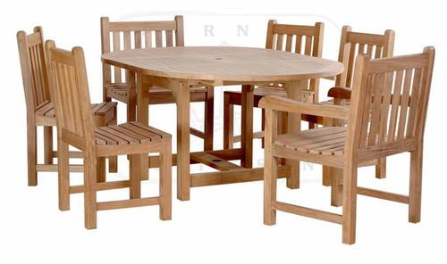 classic teak outdoor dining set, seats six.