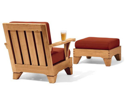 luxury teak outdoor club chair with wide arm rest