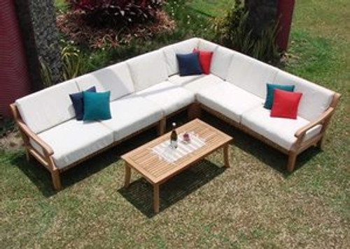 (5pc) KUTA TEAK SECTIONAL SOFA SET - I