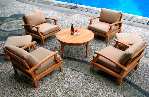 Teak dep seat Club Chairs with round teak table