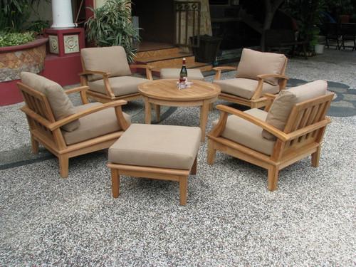 Teak Club Chairs Gathering Table