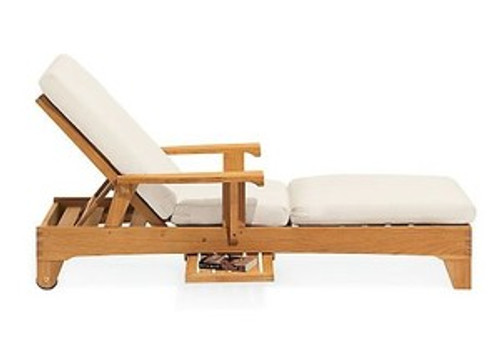 heavy duty teak chaise lounger with arm rest