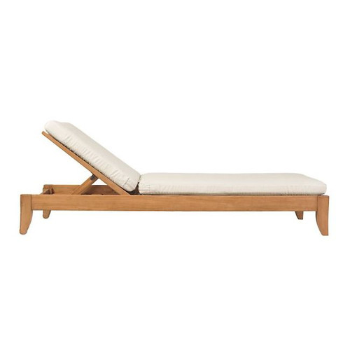 teak chaise lounger by Wood-Joy shown with cushion