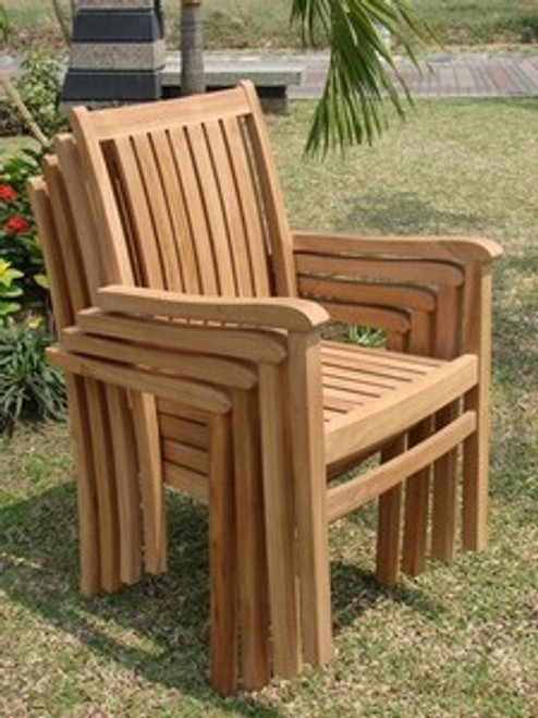 (4) Teak Genova Stacking Chairs