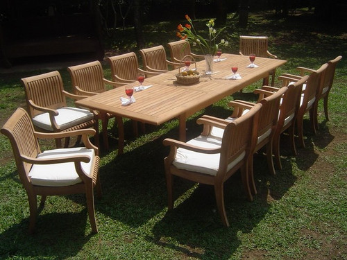 Stunning 13pc Teak Kuta Dining Set With Extra Long Table