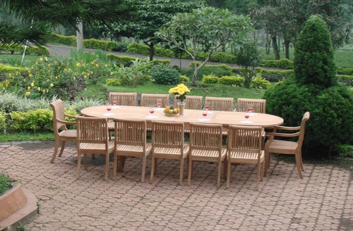 Big Oval Teak Rectangle Dining Set with (12) Kuta Style Chairs