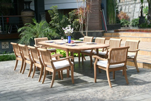 Large Teak Dining Table with (10) Teak Sutter Stacking Chairs