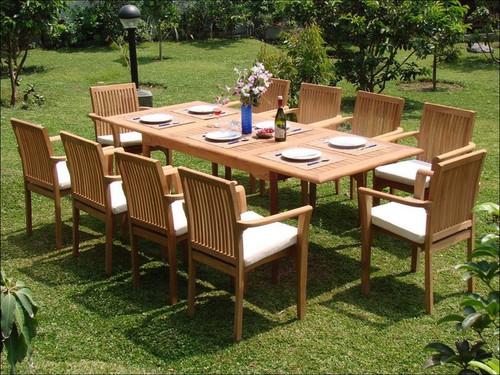 Long Teak Table with 10 attractive teak Rio Stacking Chairs
