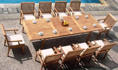 10 chair and teak Kodra Dining Set